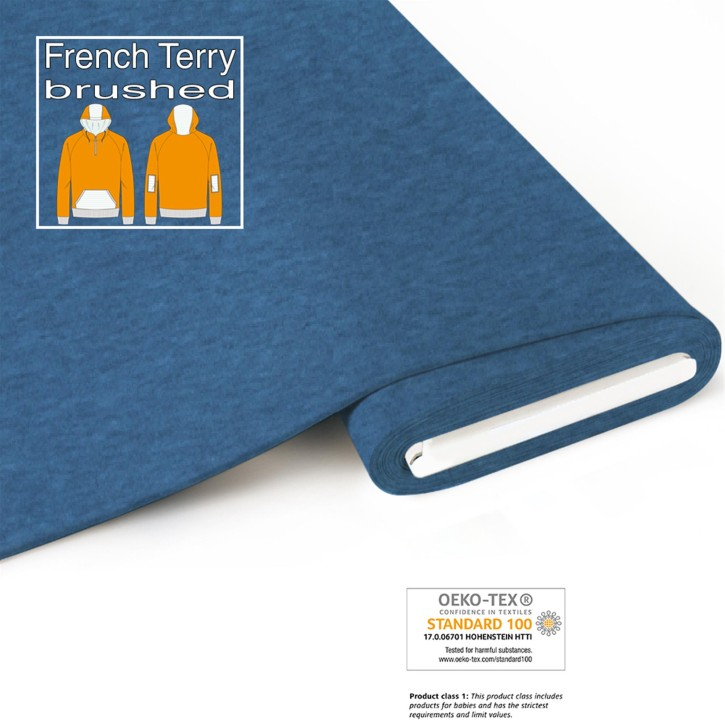 Bio French Terry (brushed) - meliert-blau